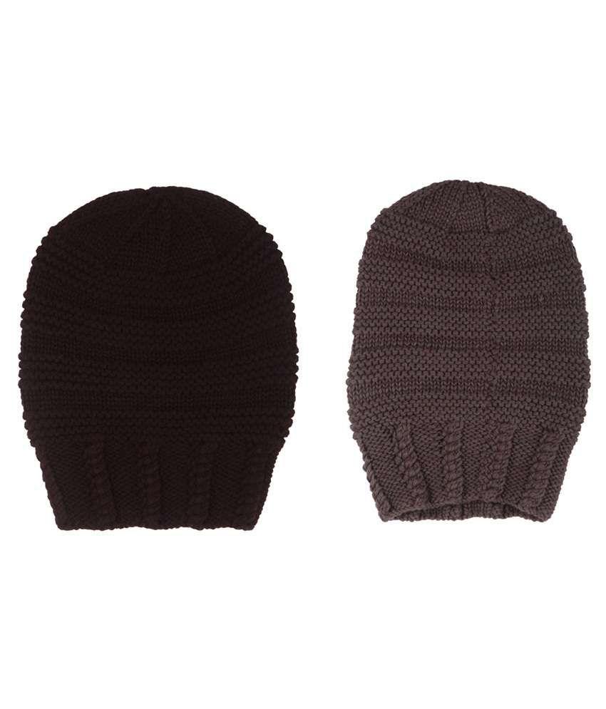 The Gud Look Brown And Black Woollen Beanies Cap - Pack Of 2