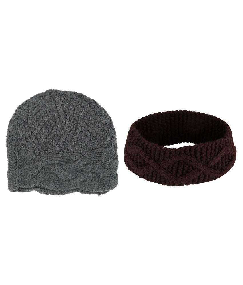 The Gud Look Brown And Grey Woollen Beanies Cap - Pack Of 2