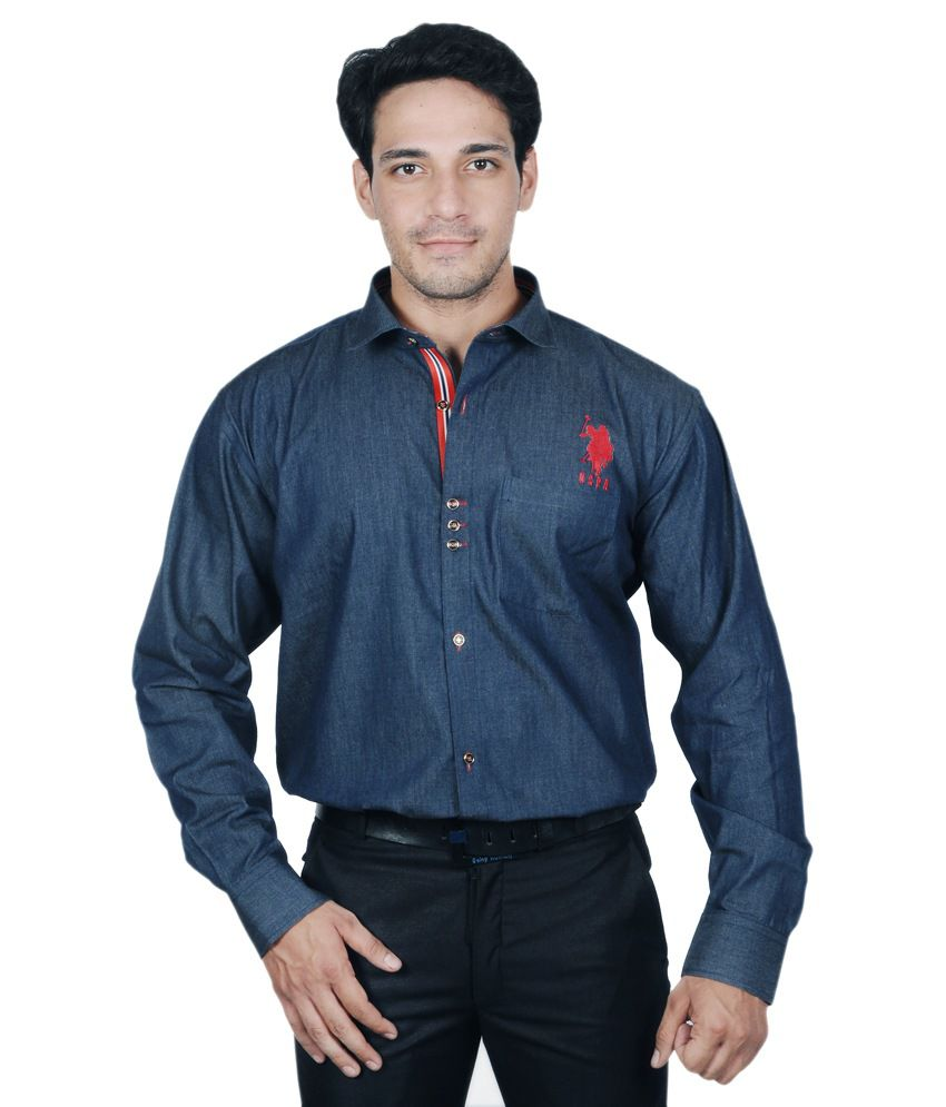 c90308735bc The Mods Blue Cotton Formal Shirt - Buy The Mods Blue Cotton Formal Shirt  Online at Best Prices in India on Snapdeal