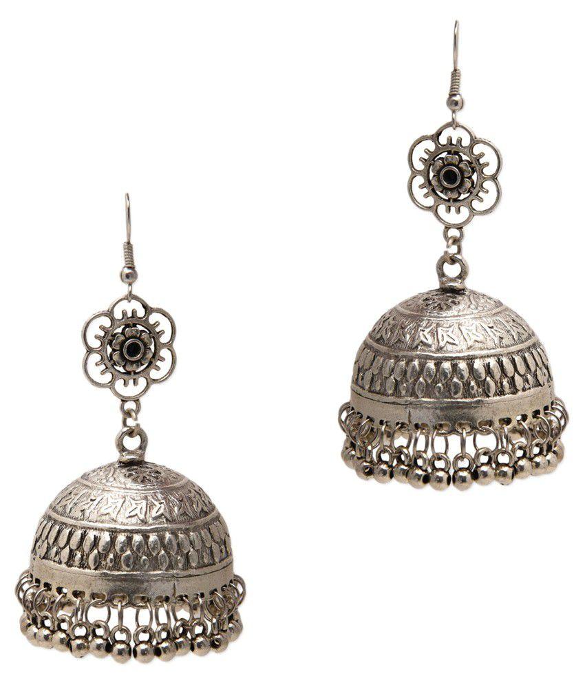 Zerokaata Silver Antique Designer Wear Hanging Earring
