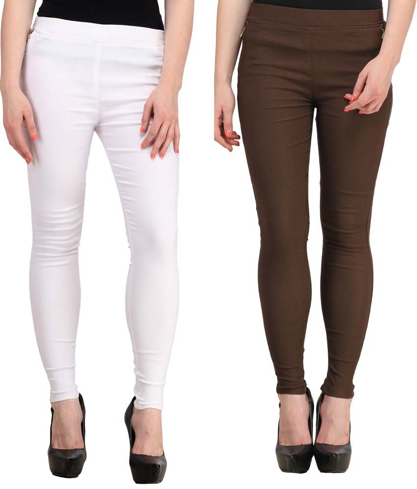 Fashion Arcade Pack of 2 White & Brown Solid Cotton Lycra Jeggings