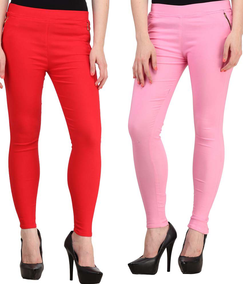 Fashion Arcade Cotton Jeggings - Red