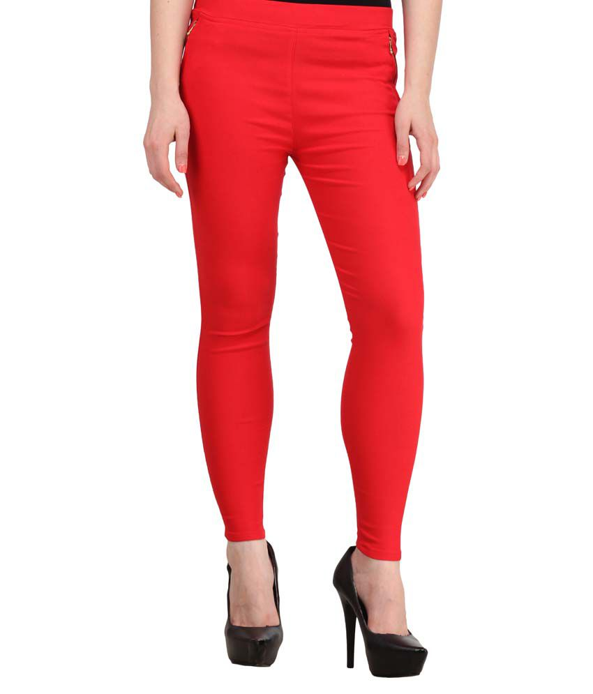 Fashion Arcade Red Solid Cotton Lycra Jeggings