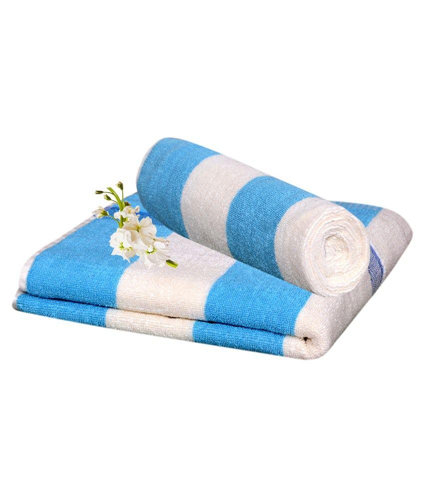 Homesazz Blue Cotton Bath Towel Set Of 2
