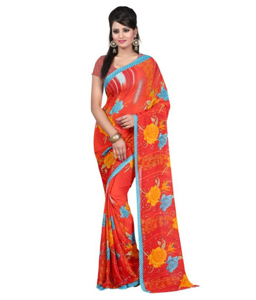 New Trendz Red Faux Georgette Saree