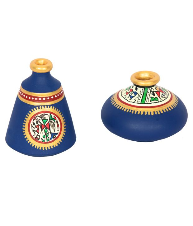 ExclusiveLane Miniature Warli Table Pots In Terracotta - Set of 2