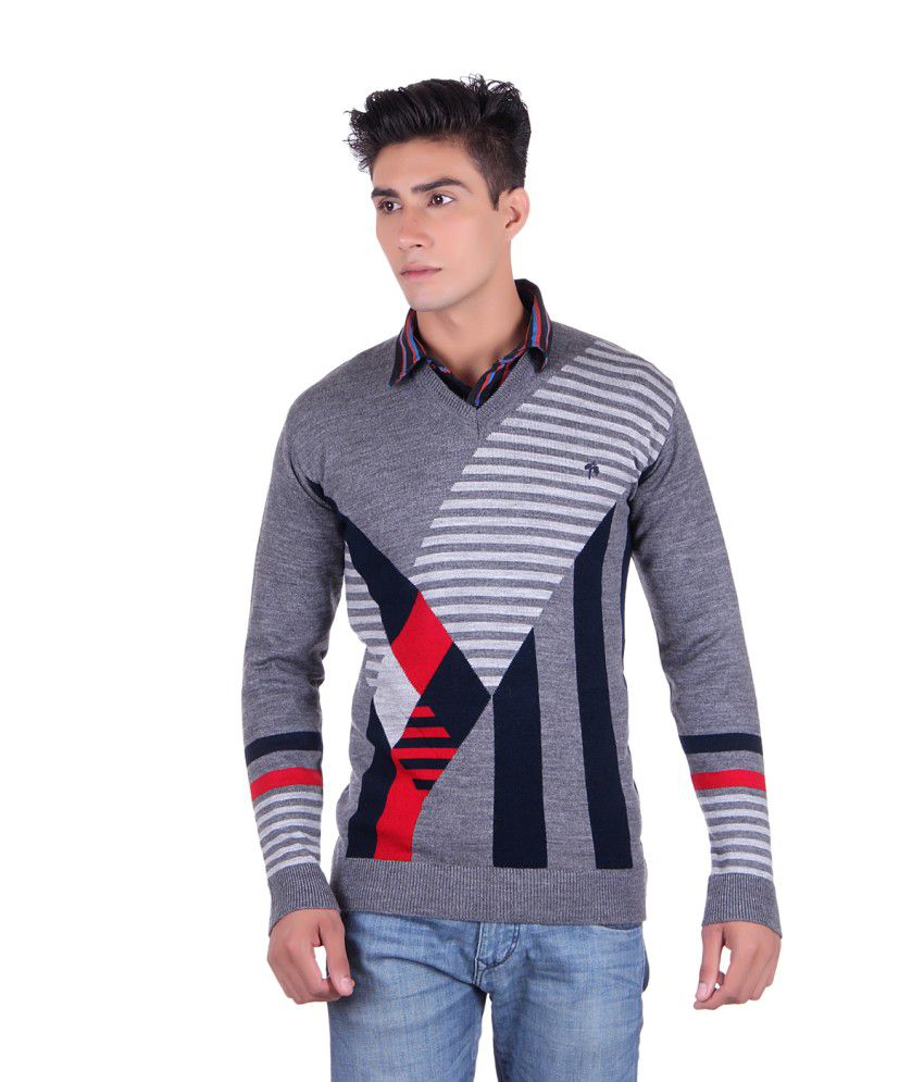 Fabtree Grey and Navy Acrylic Sweater