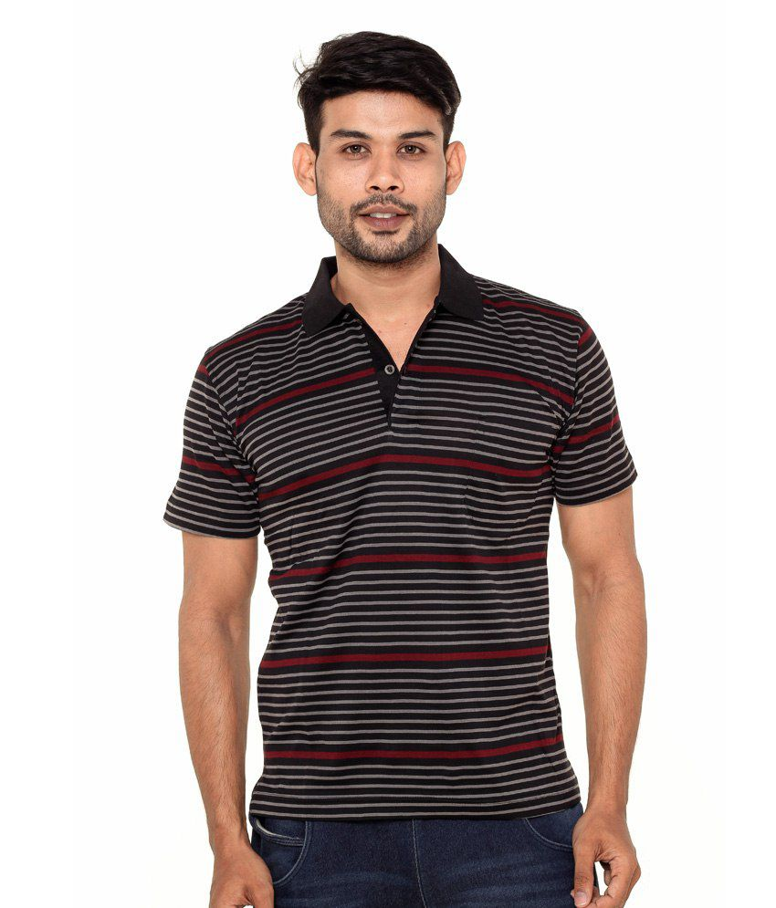 Gleneagles Black Half Sleeve Stripers T-shirt