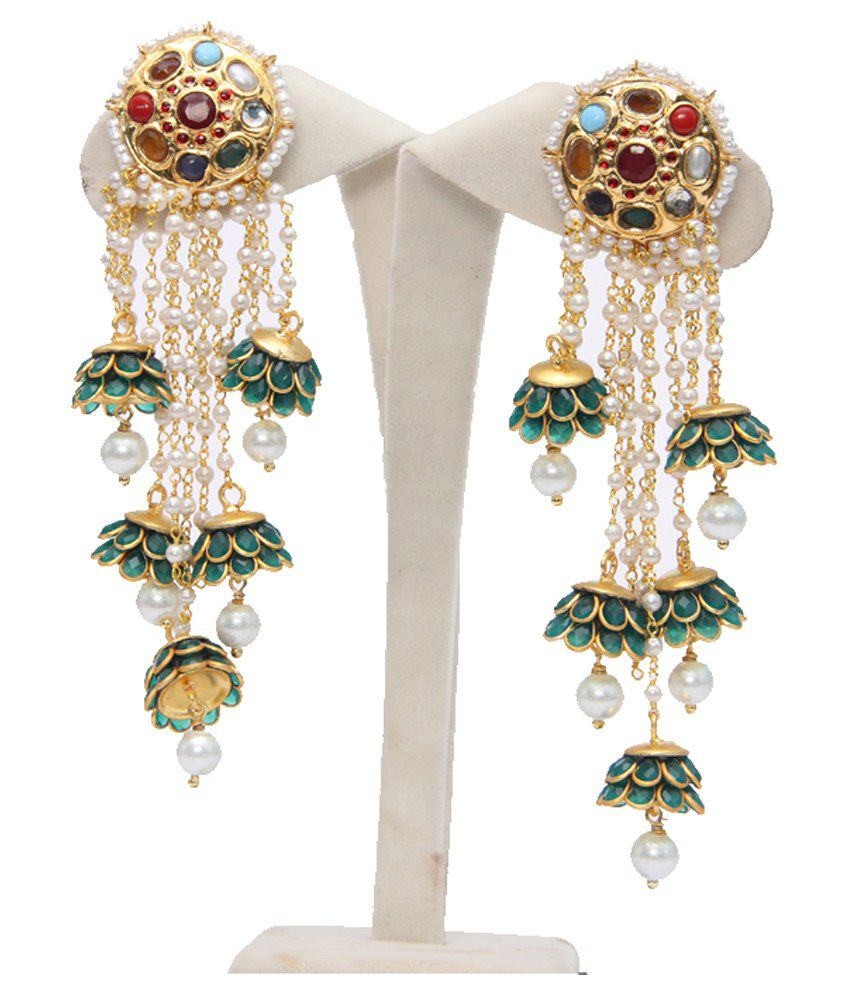 Indiawidme Green Copper Coloured Bead Hanging Earrings