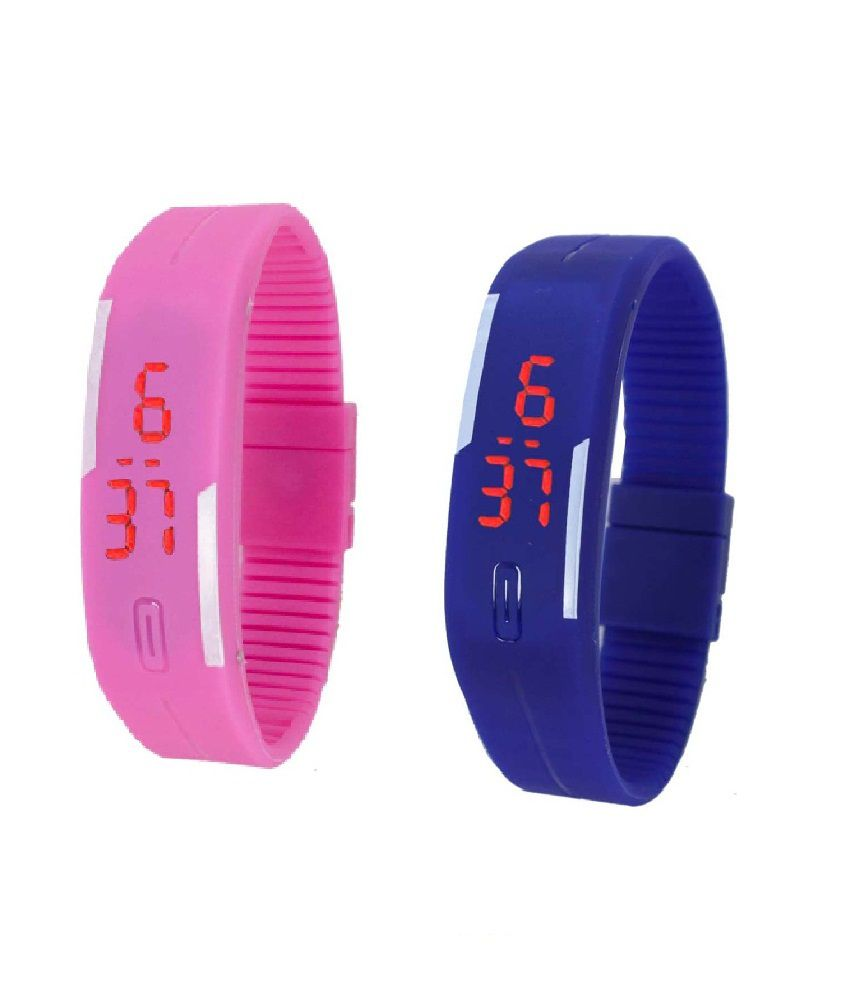 Lime Multicolor Digital Rectangular Watch - Combo Of 2