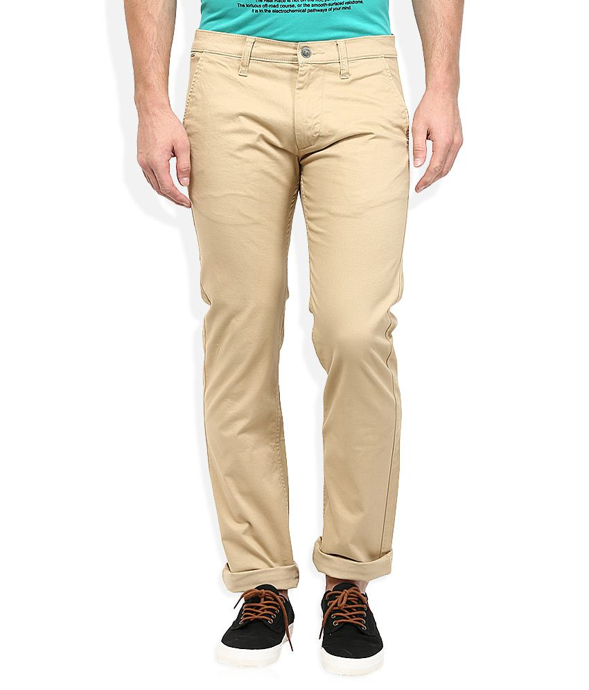 Lee Beige Powell Slim Fit Casual Trousers