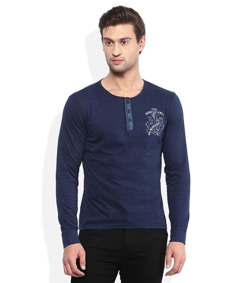 Lee Navy Printed Henley T-Shirt By Snapdeal @ Rs.882