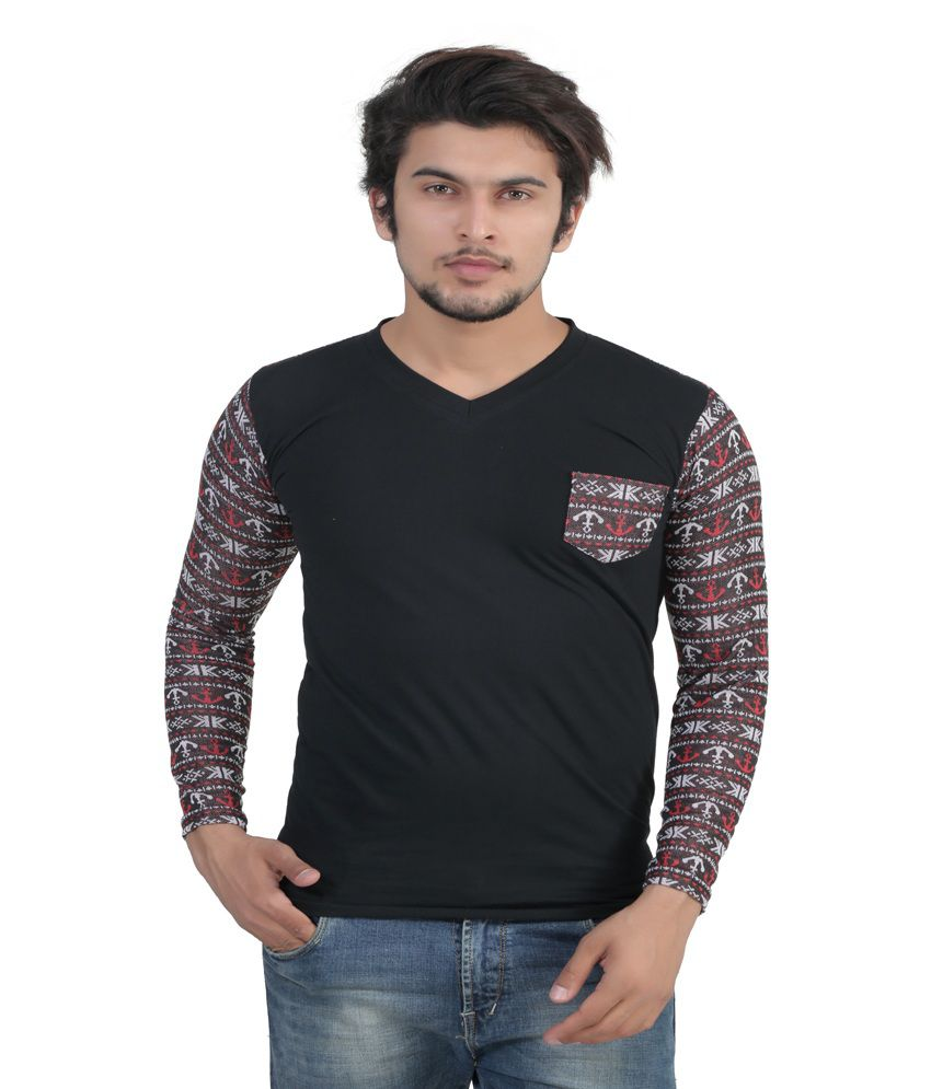 Louis Mode Black Cotton T-Shirt
