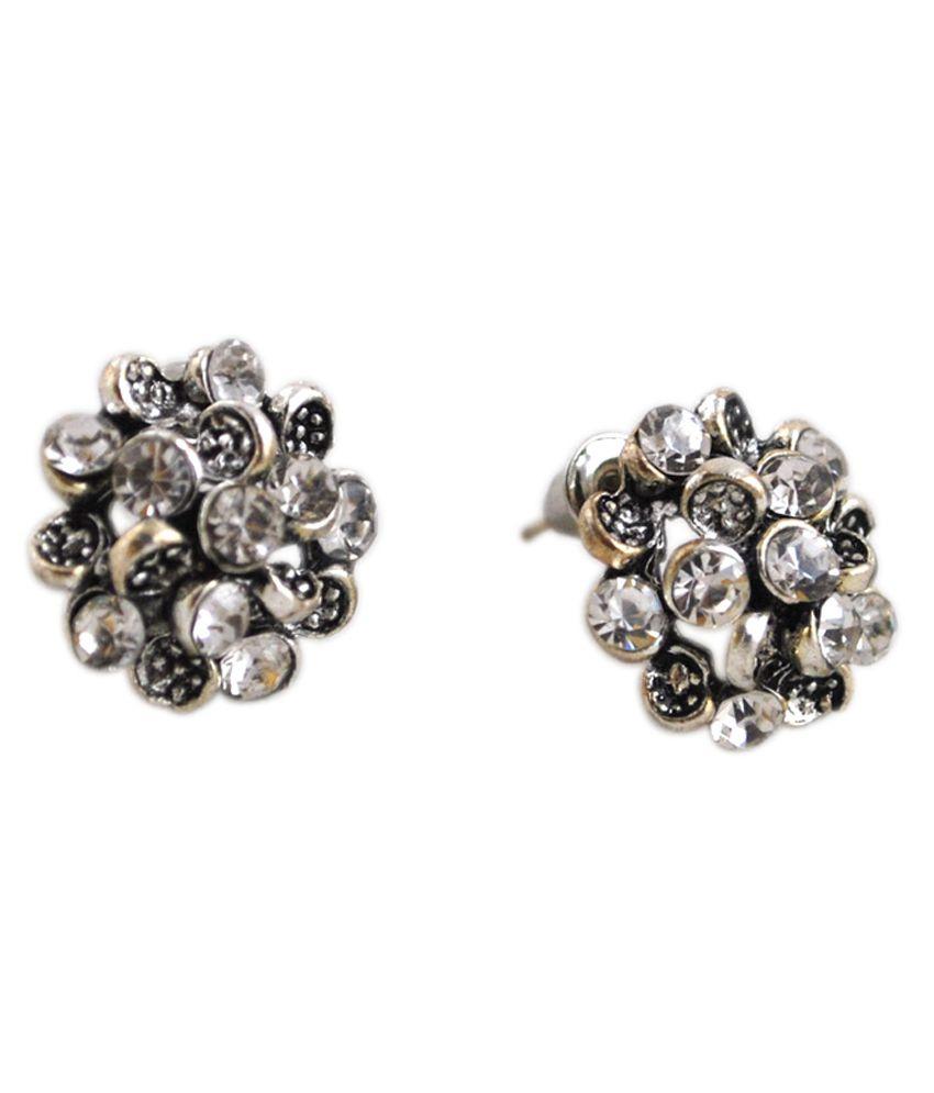 Nyssa Silver Crystal Stud Earrings