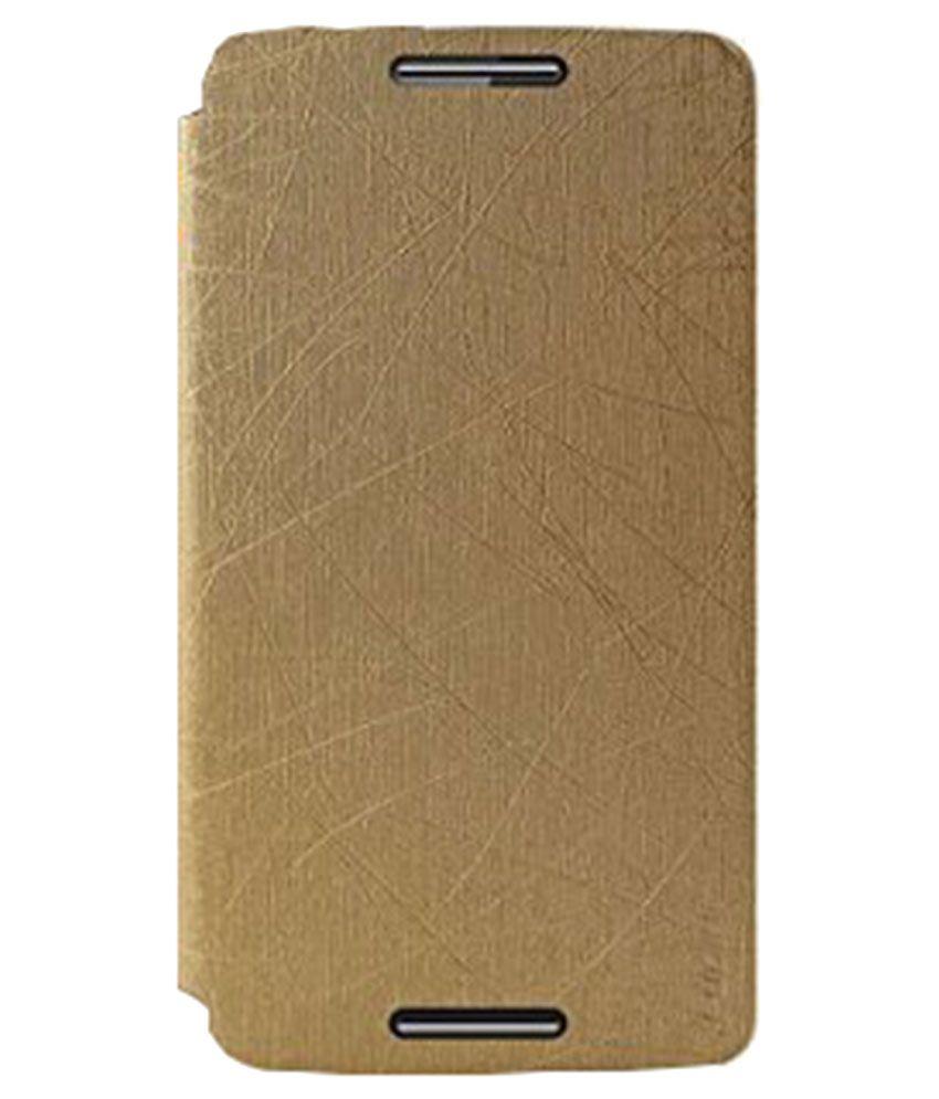 huge discount aca25 20e3d Pudini Flip Cover for Motorola Moto X Play - Golden