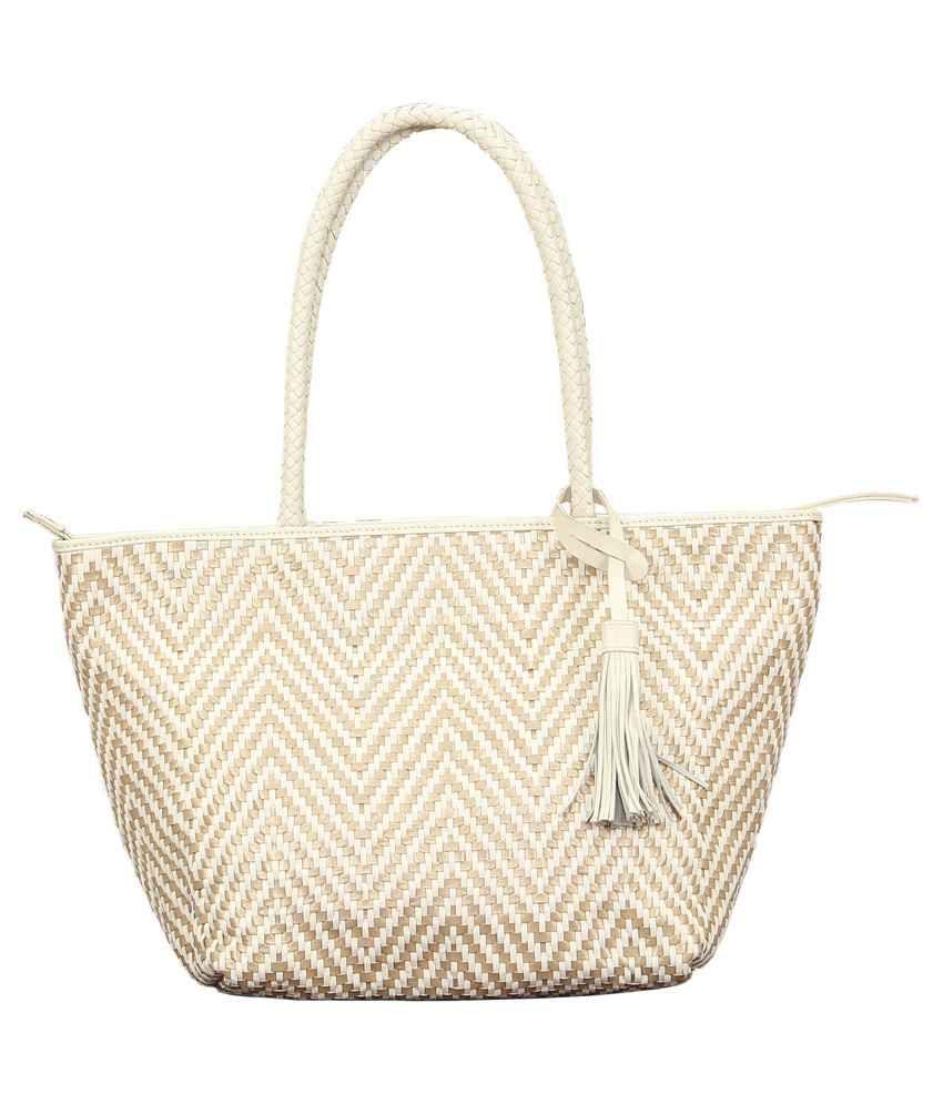 Svi White Leather Tote Bag
