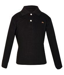 Gkidz Black Cotton Full Sleeves T-Shirt