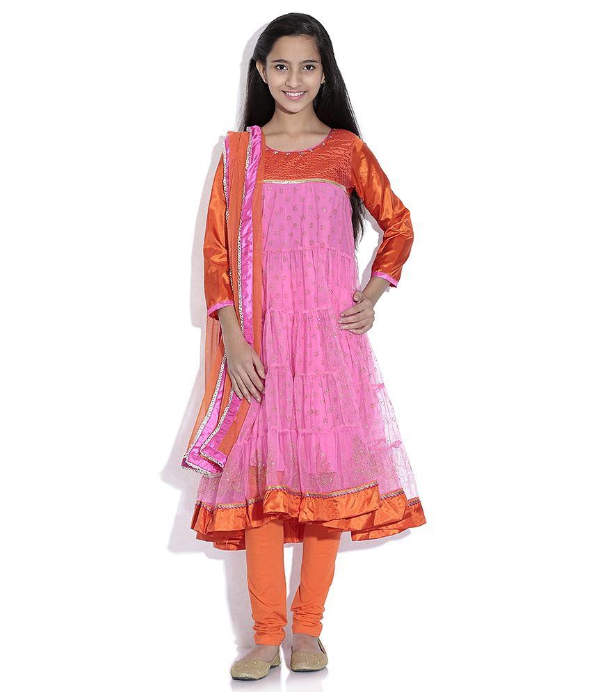 Biba Polyester Pink Full Sleeve Salwar Kameez For Kids