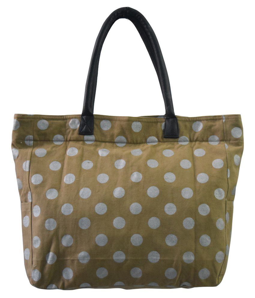 HVE Canvas Cloth Shoulder Bag -Beige & White