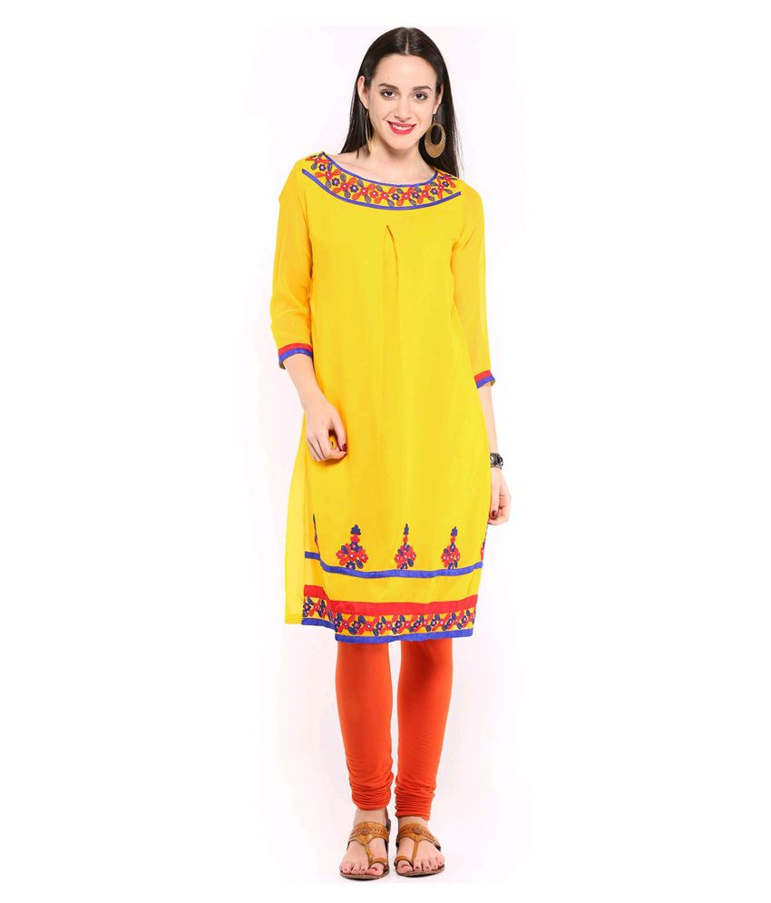 Mirange Yellow Faux Georgette Kurti