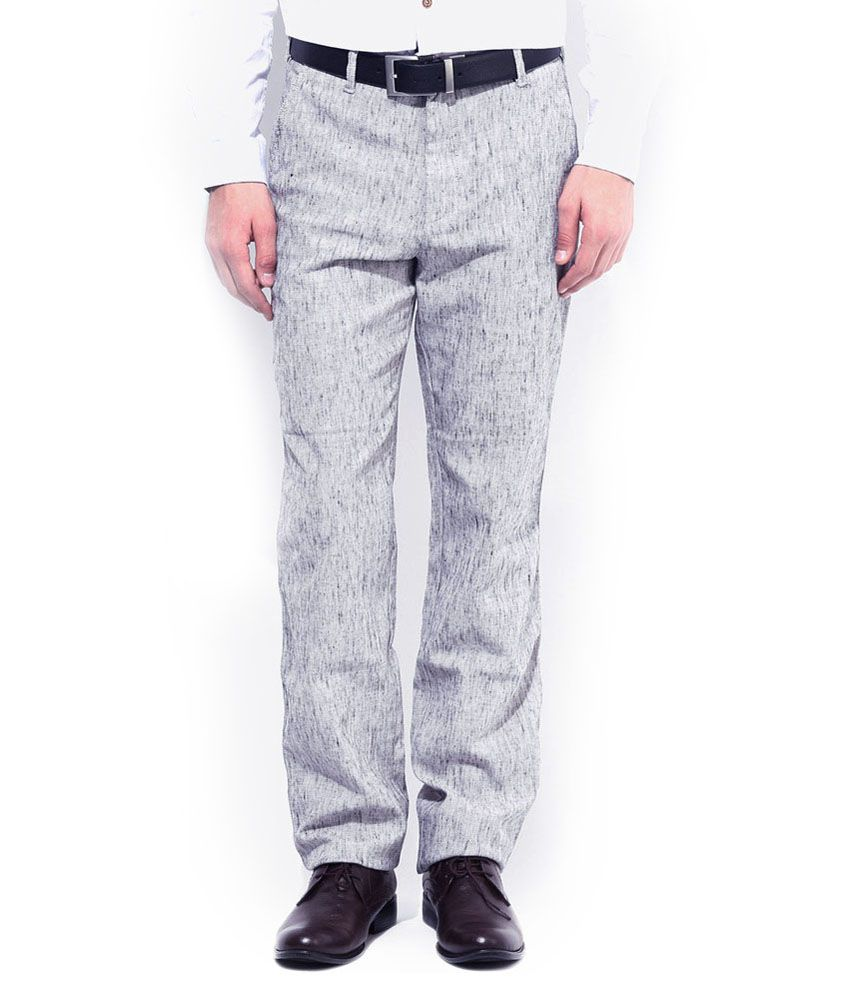 AD & AV Grey Regular Fit Formal Flat Trouser