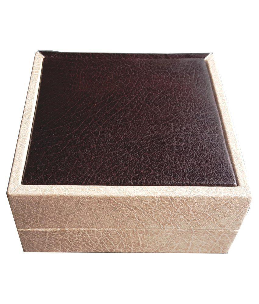 AIW Wooden Brown Cream Design Bangle Box