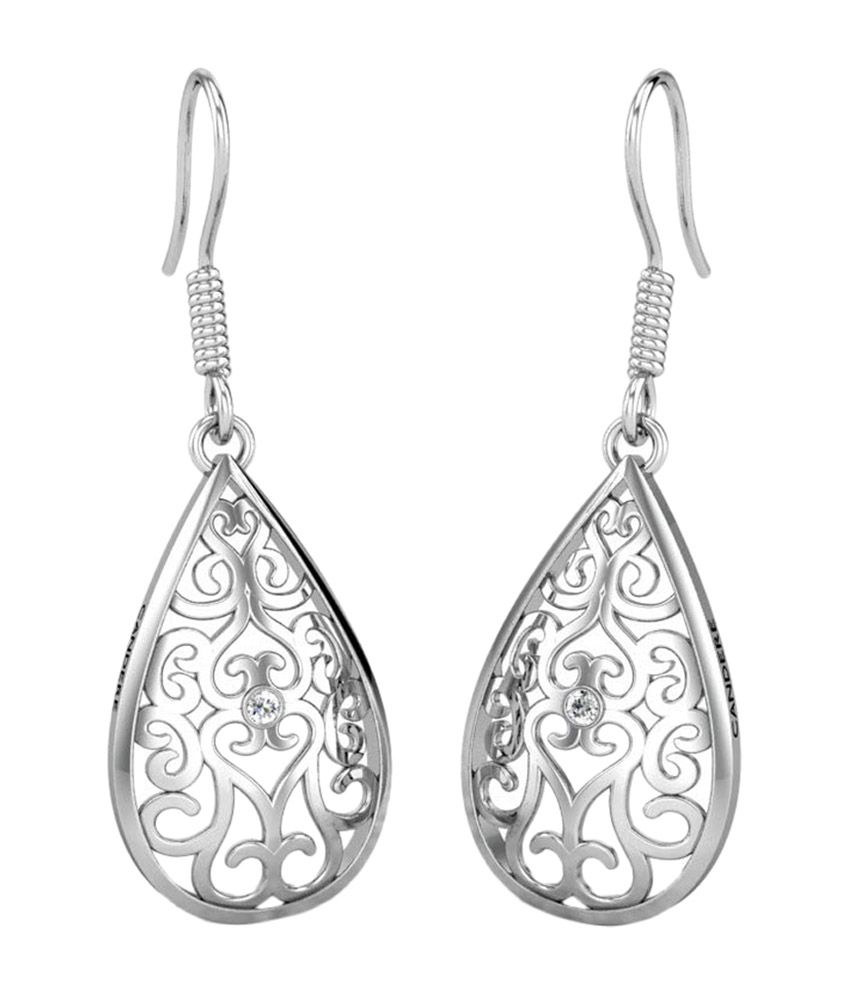 Candere Kala White Gold 14Kt Diamond Drop Earrings