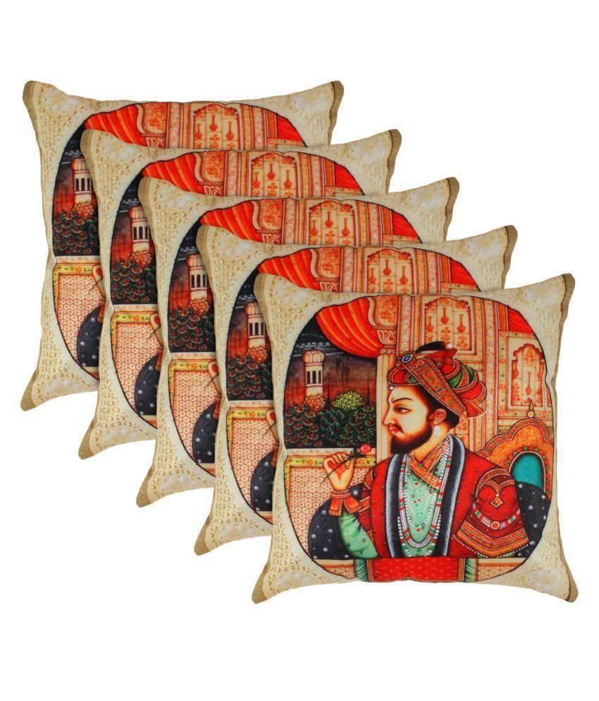 Eccellente Multicolour Printed Cotton Cushion Cover - Set Of 5