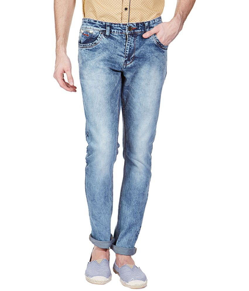 Vintage Blue Cotton Blend Slim Fit Jeans