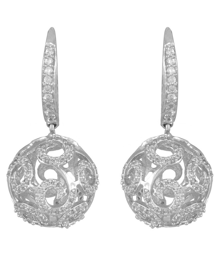Ohanna Jewels Silver Cz Designer Hoop Earrings