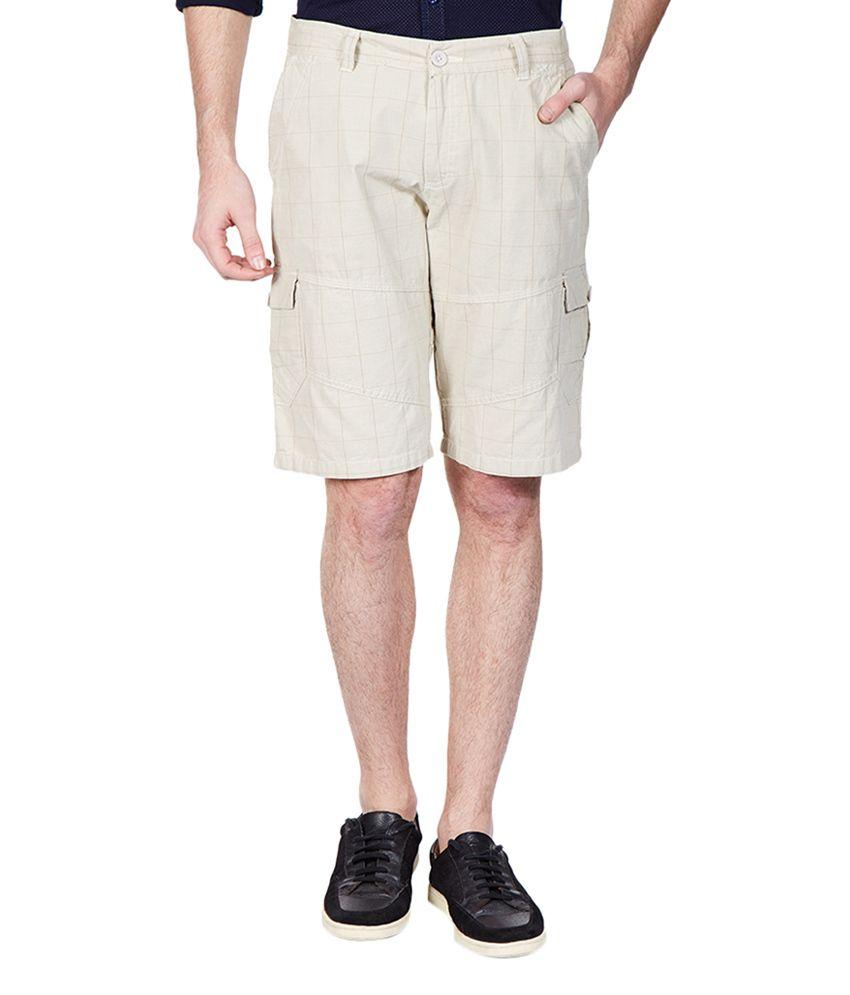 Vintage Beige Cotton Checks Pattern Men's Shorts