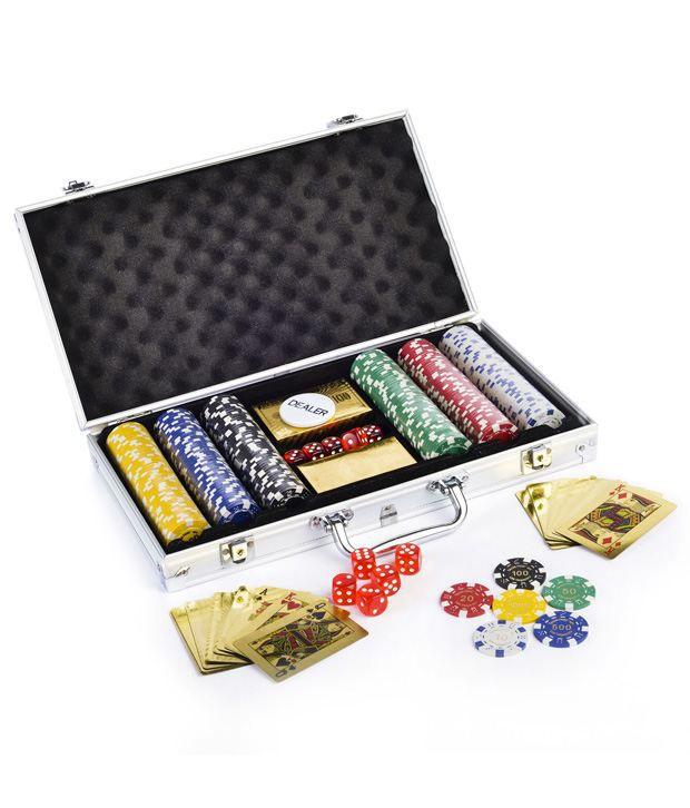1 Gold Poker Chip Set 300 Card Shuffler & Freebie: 2 Decks of Fournier Playing Cards