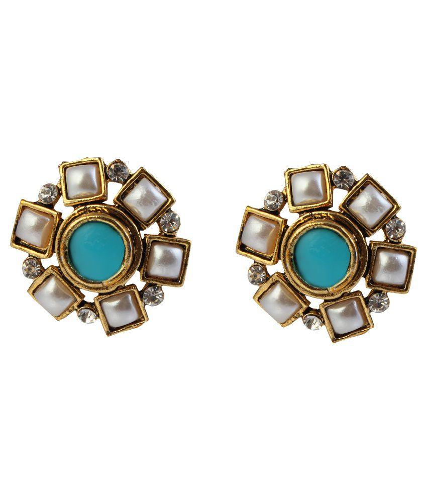 9blings Blue Pearls Drops Earings