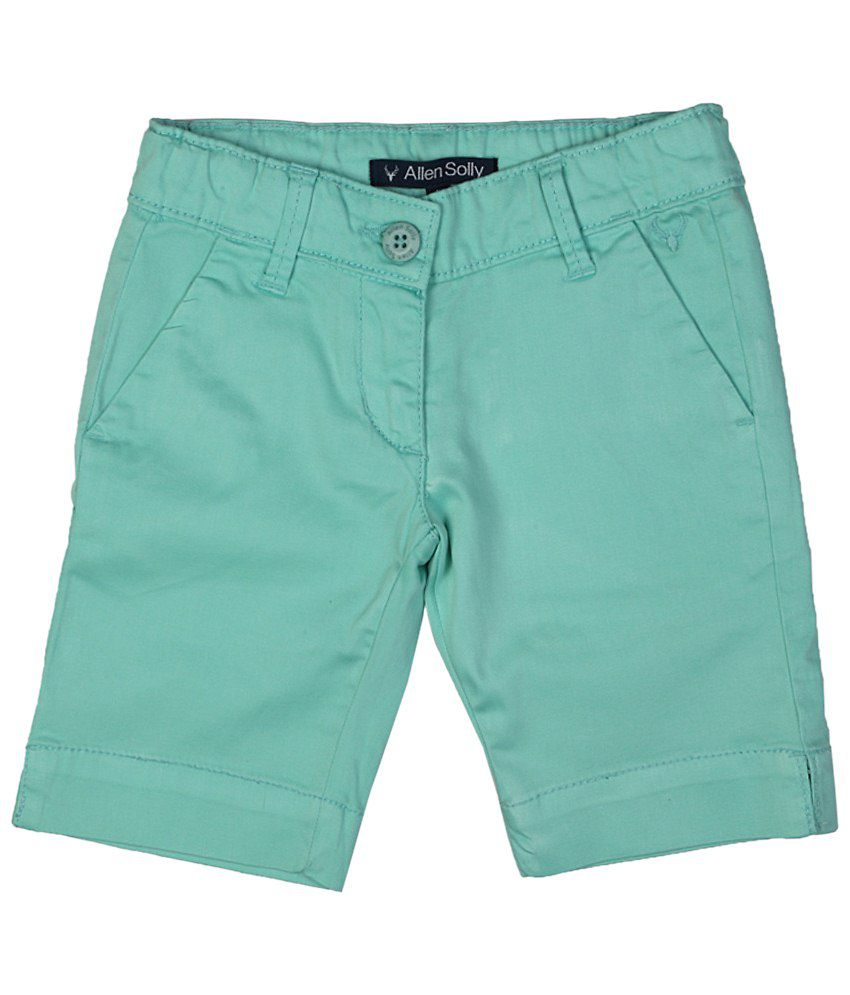 Allen Solly Green Solid Shorts