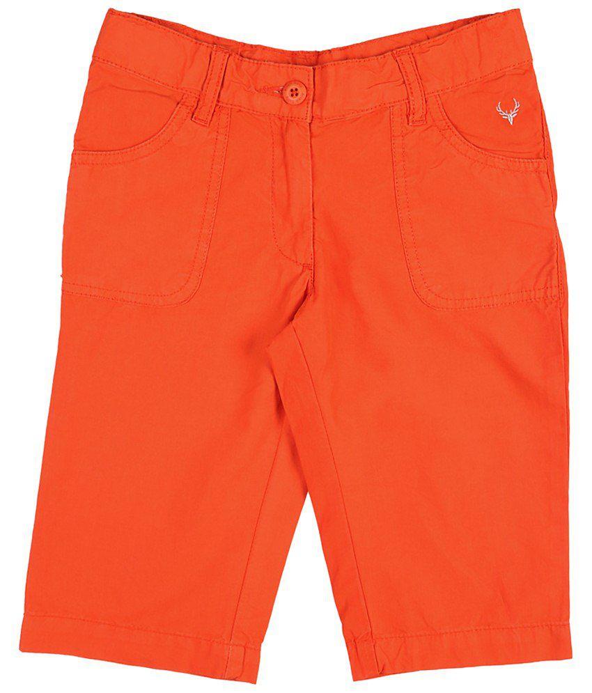 Allen Solly Orange Solid Shorts