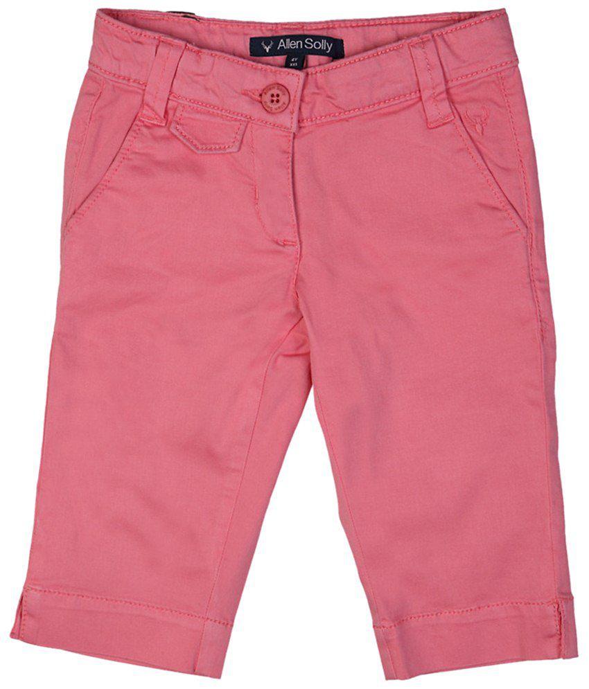 Allen Solly Pink Solid Capris