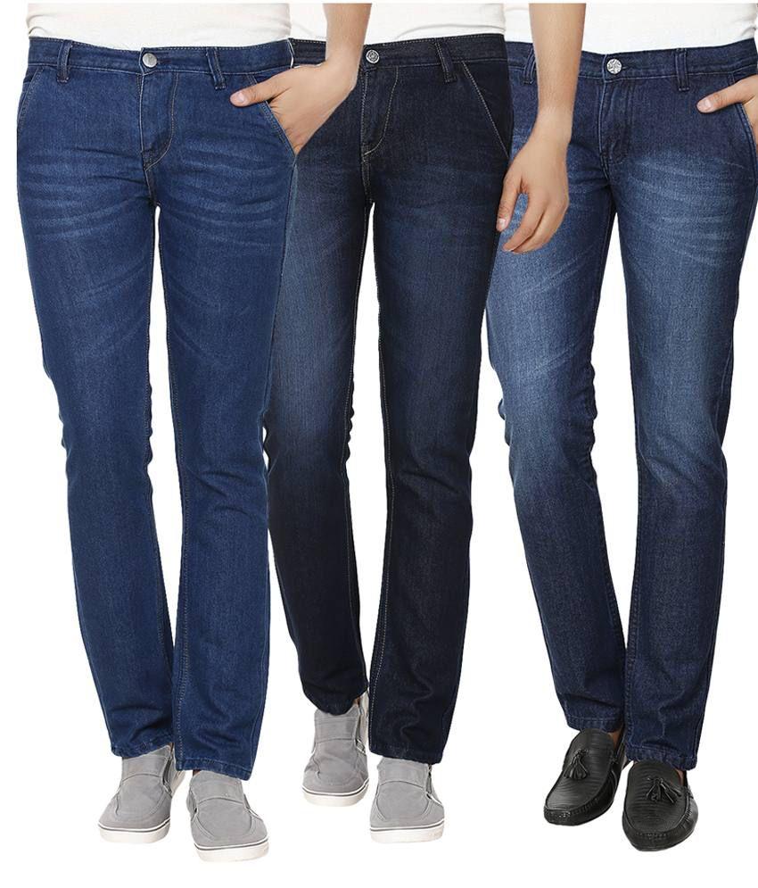 Club Vintage Multicolor Slim Fit Jeans Pack Of 3