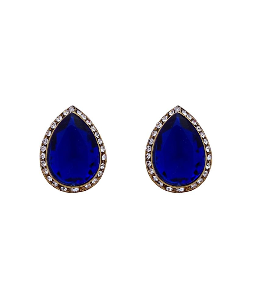 Gems N Pearls Blue Alloy Stud Earrings
