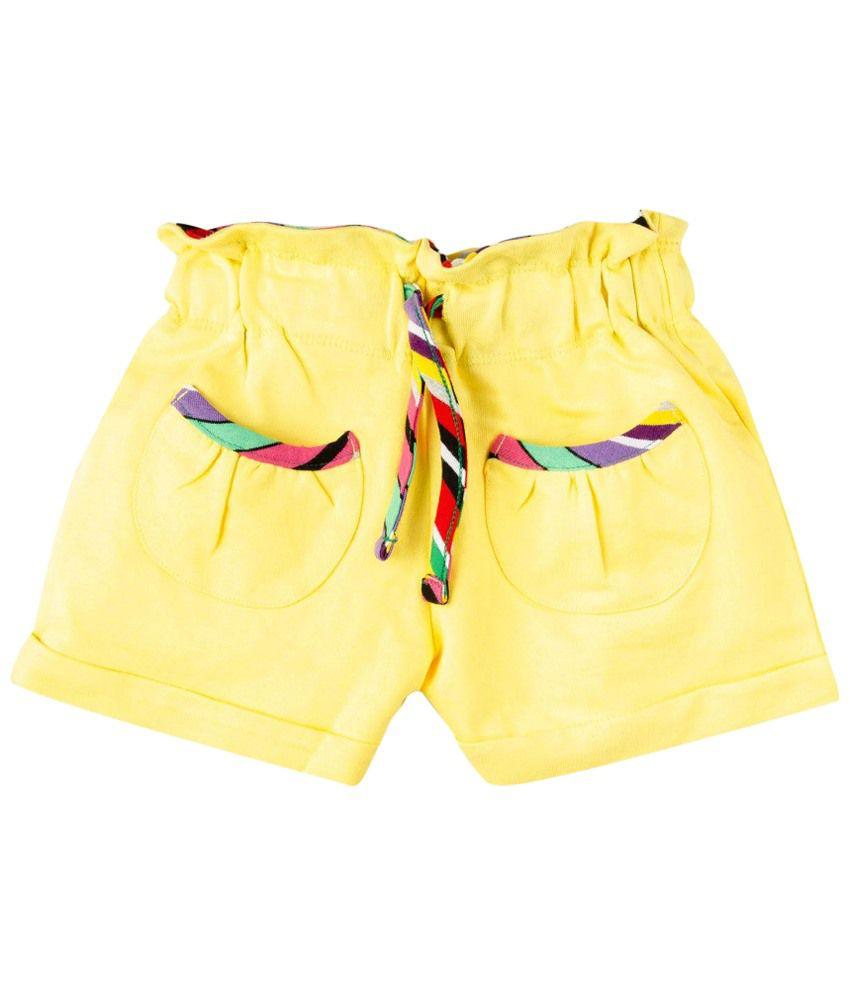 Oye Yellow Cotton Shorts
