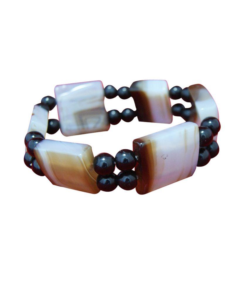Divya Mantra Black and White Agate Gemstone for Protection Bracelet