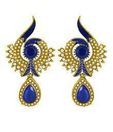 Donna Traditional Ethnic Blue Peacock Dangler Earring with Crystal & Artificial Pearl for Women