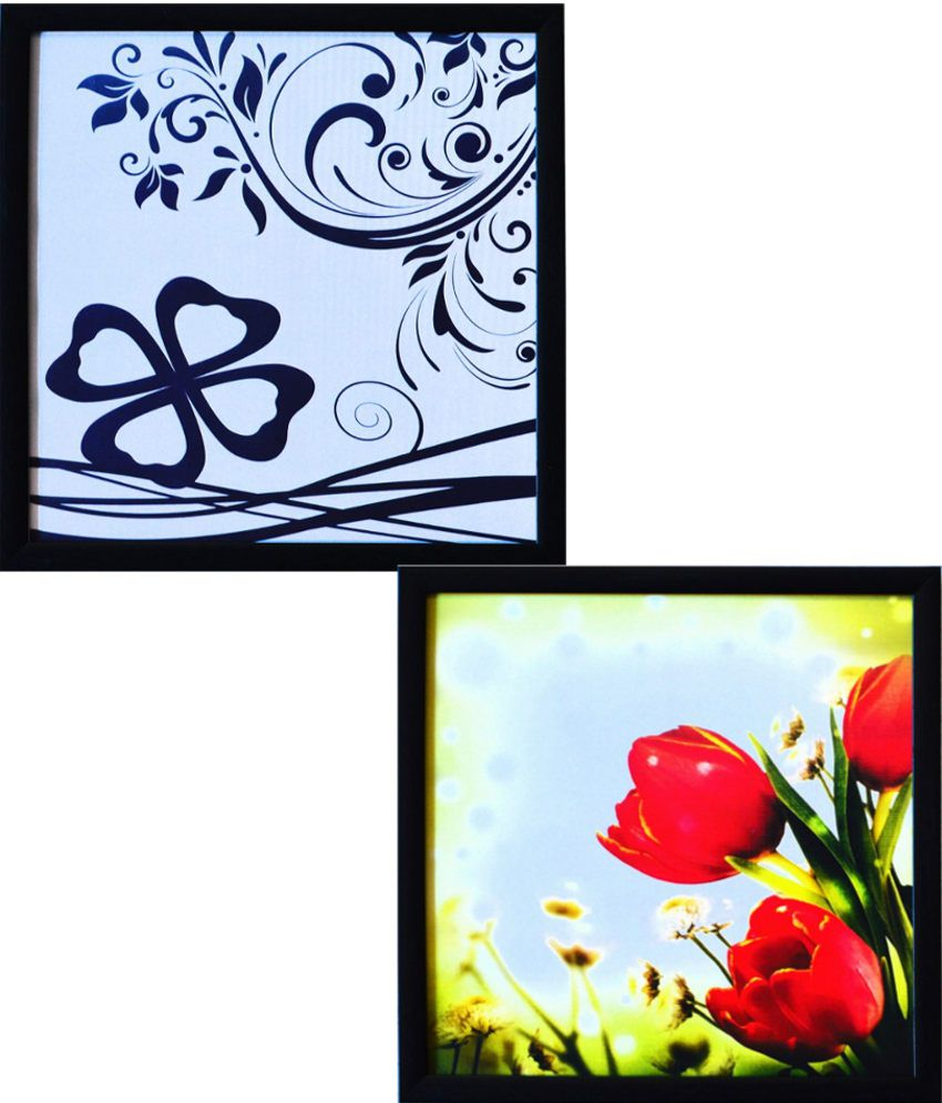 Ecraft Blue and Red Paintings - Set of 2