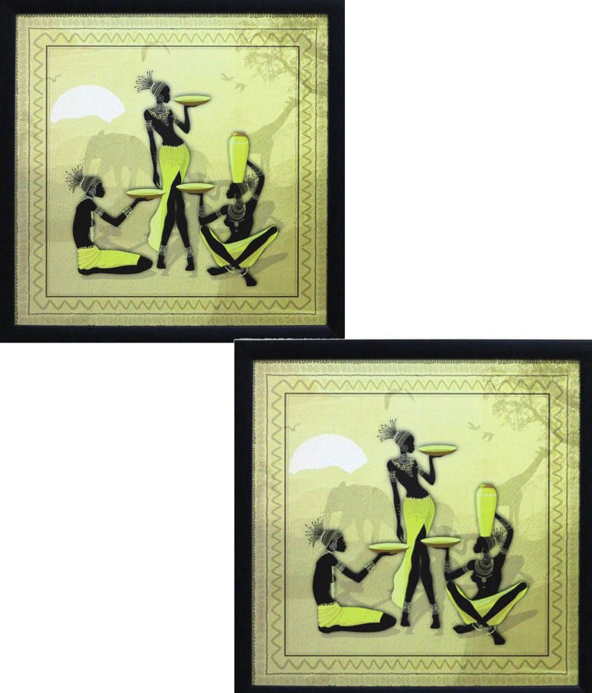 Ecraft Yellow and Black Paintings - Set of 2