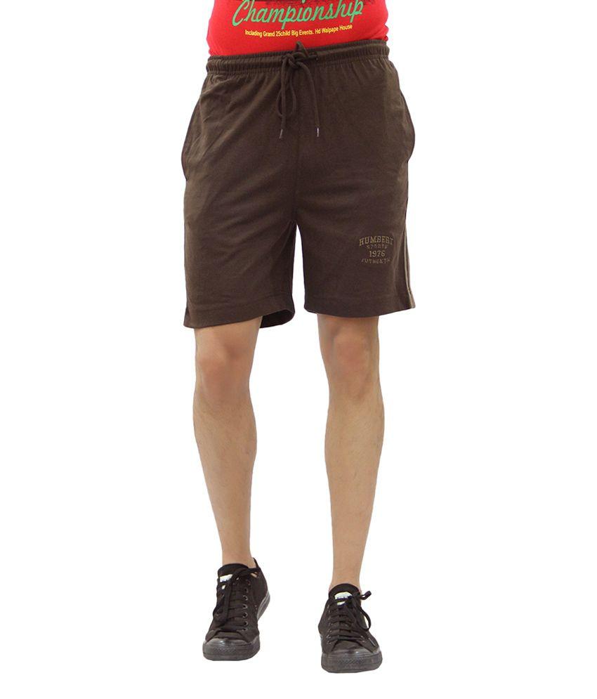 Humbert Brown Cotton Blend Double Folder Shorts