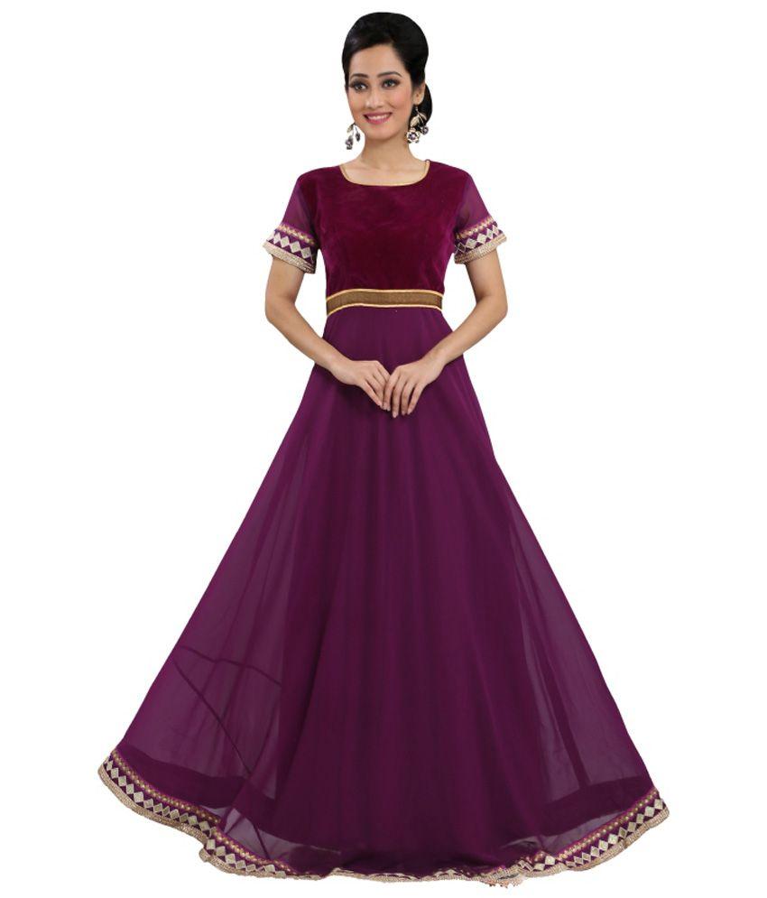 Indian Rag Purple Georgette Gowns - Buy Indian Rag Purple Georgette ...