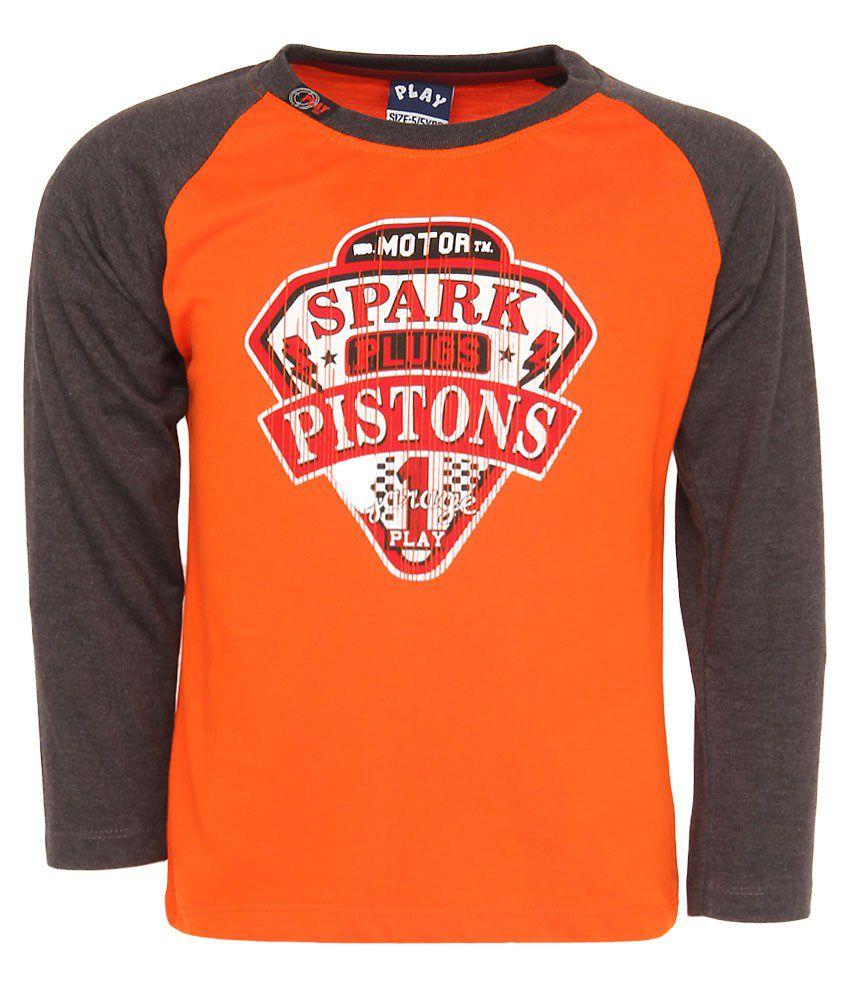 Little Kangaroo Full Sleeves Burnt Orange Color Round Neck T-Shirt For Kids