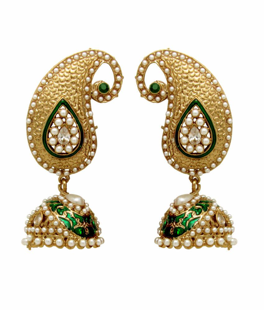 Donna Traditional Ethnic Gold Plated Mini Peacock Jhumki Earrings with Crystal For Women by Donna ER30048GGre