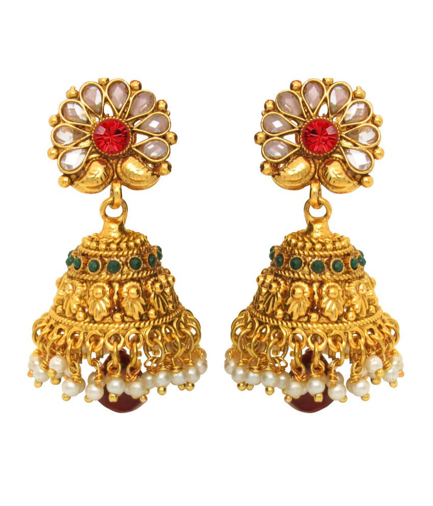 Donna Traditional Ethnic Thumri Jhumki with Maroon Drop & crystals for Women by Donna ER30008G