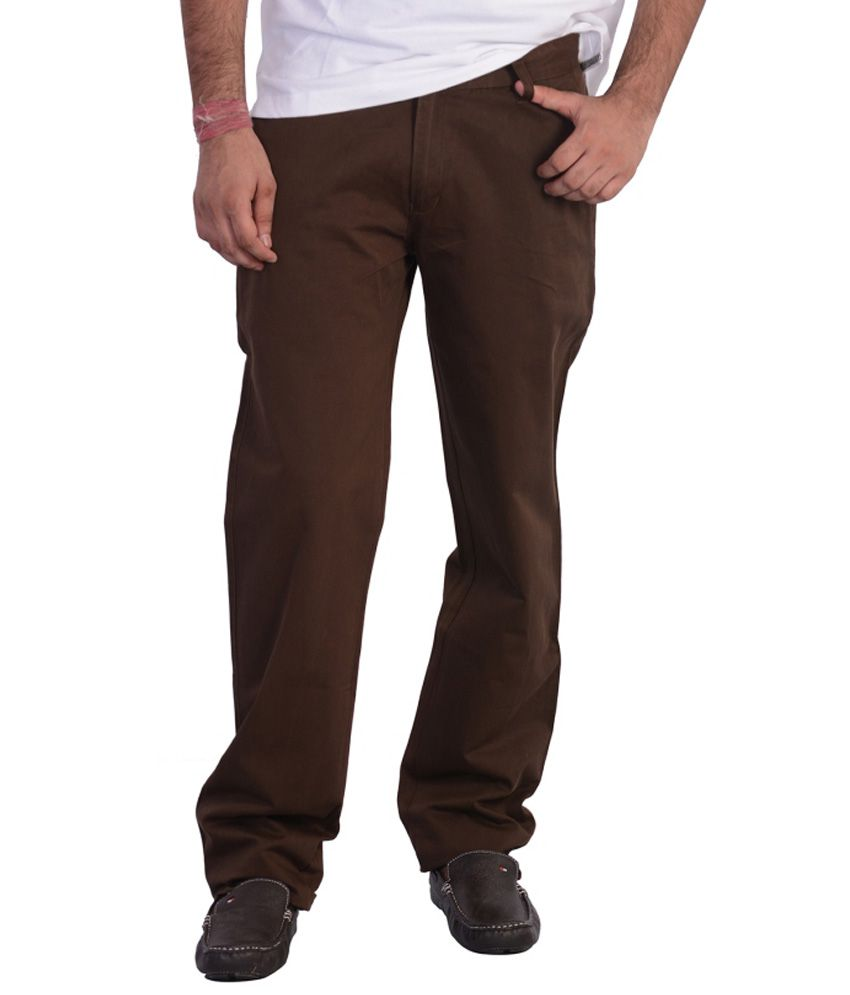 Mild Kleren Mens 100% Cotton Chinos Trouser (Dark Brown)