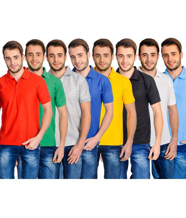 Superjoy Multicolour Cotton Blend Polo T-Shirt Pack Of 8
